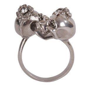 Alexander McQueen Silvertone Skull and Iris Ring